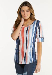 Plus Size Brushed Stripe Tee