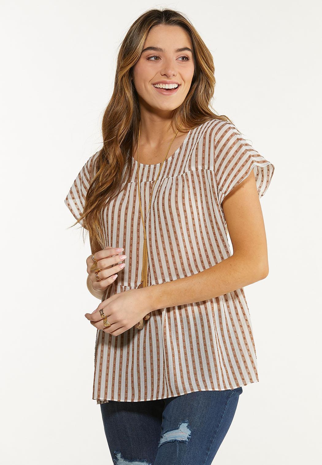 Textured Stripe Babydoll Top