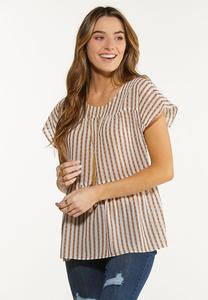 Textured Stripe Babydoll Top