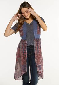 Plus Size Patchwork Lace Kimono