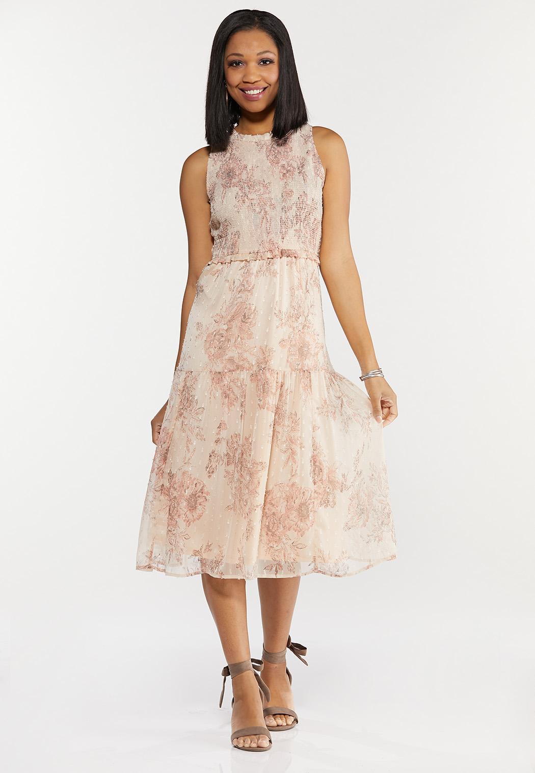 Smocked Vintage Floral Midi Dress