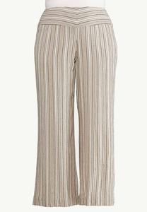 Plus Size Neutral Stripe Linen Pants