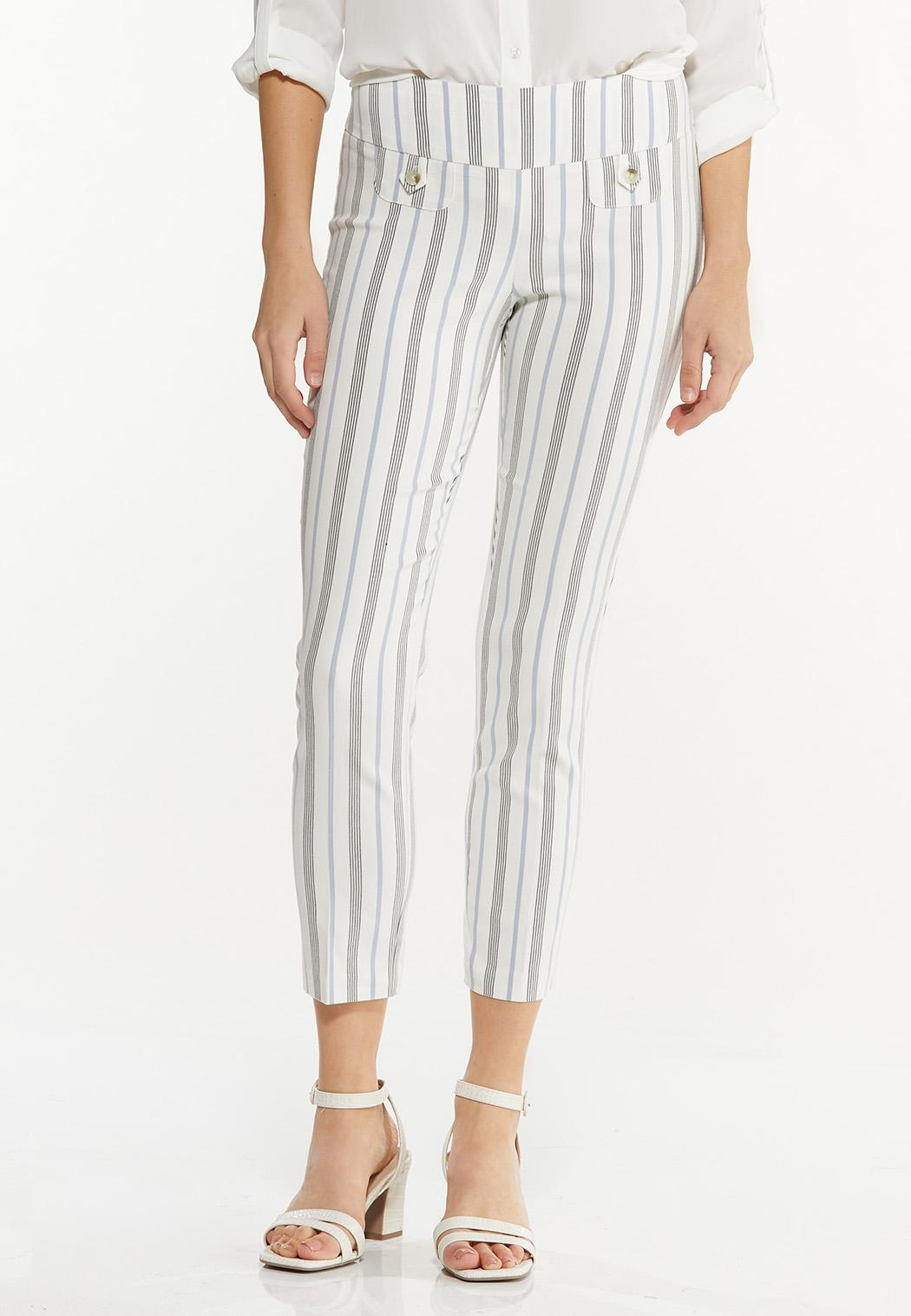 Striped Bengaline Ankle Pants