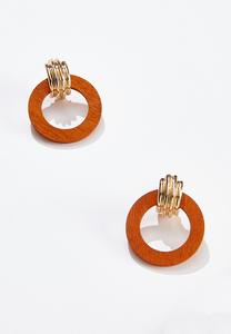 Orange Door Knocker Earrings