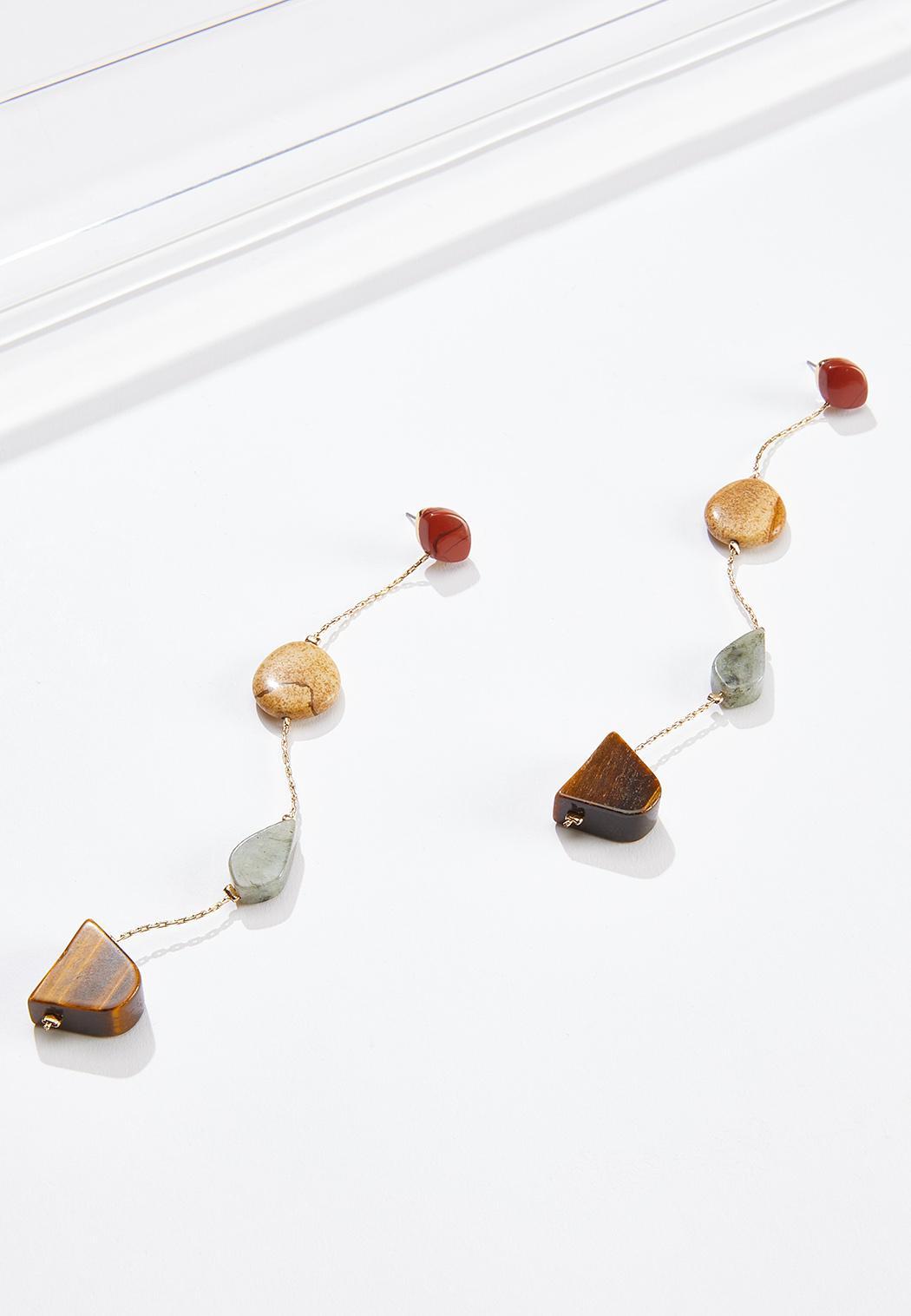Mixed Stone Linear Earrings