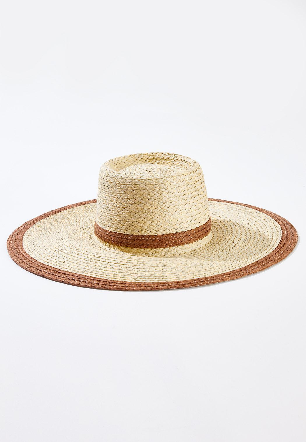 Two-Tone Straw Floppy Hat