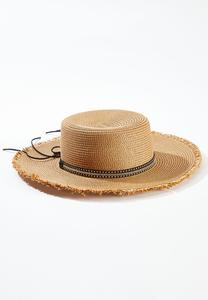 Bling Band Frayed Straw Hat