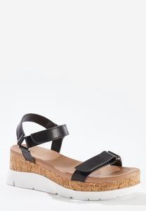 Velcro Band Flatform Sandals