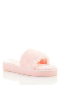 Faux Fur Lug Sole Slides