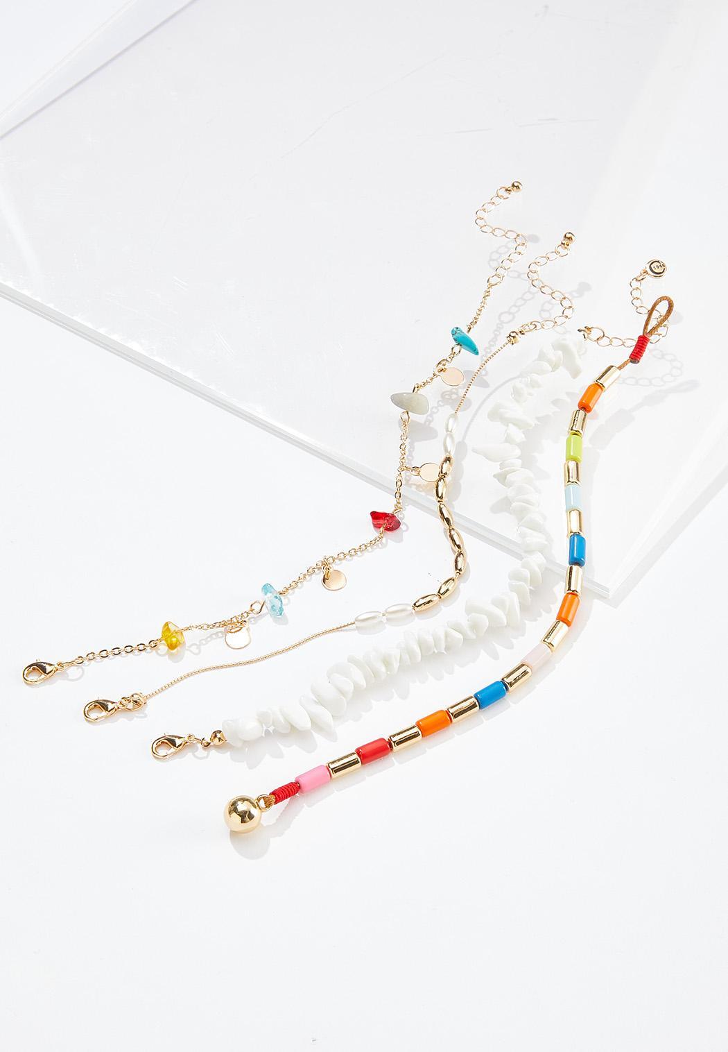 Rainbow Bead Anklet Set