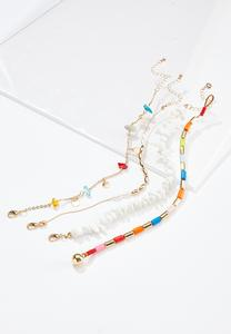 Rainbow Bead Anklet Set