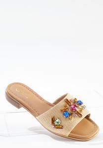 Wide Width Embellished Raffia Slides