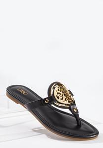 Gold Medallion Thong Sandals