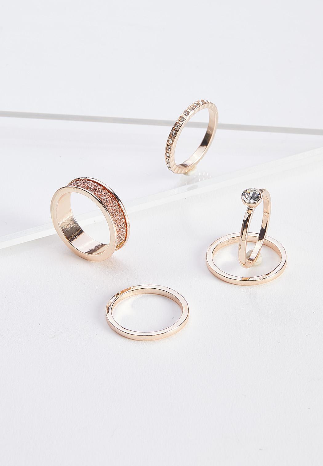 Rose Gold Glitz Ring Set