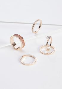 Rose Gold Glitz Ring Set