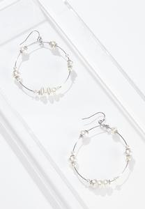 Pearl Hoop Wire Earrings