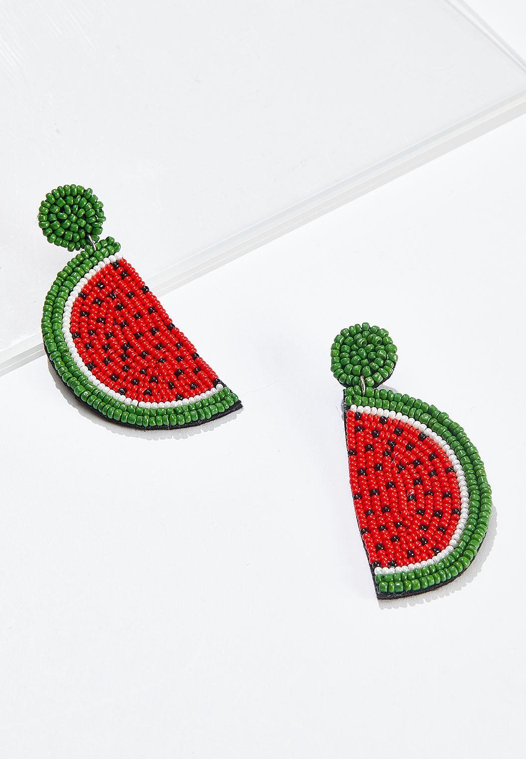 Beaded Watermelon Earrings