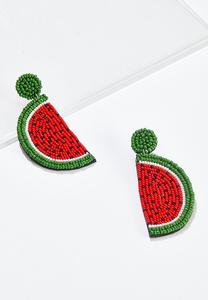 Beaded Watermelon Earrings
