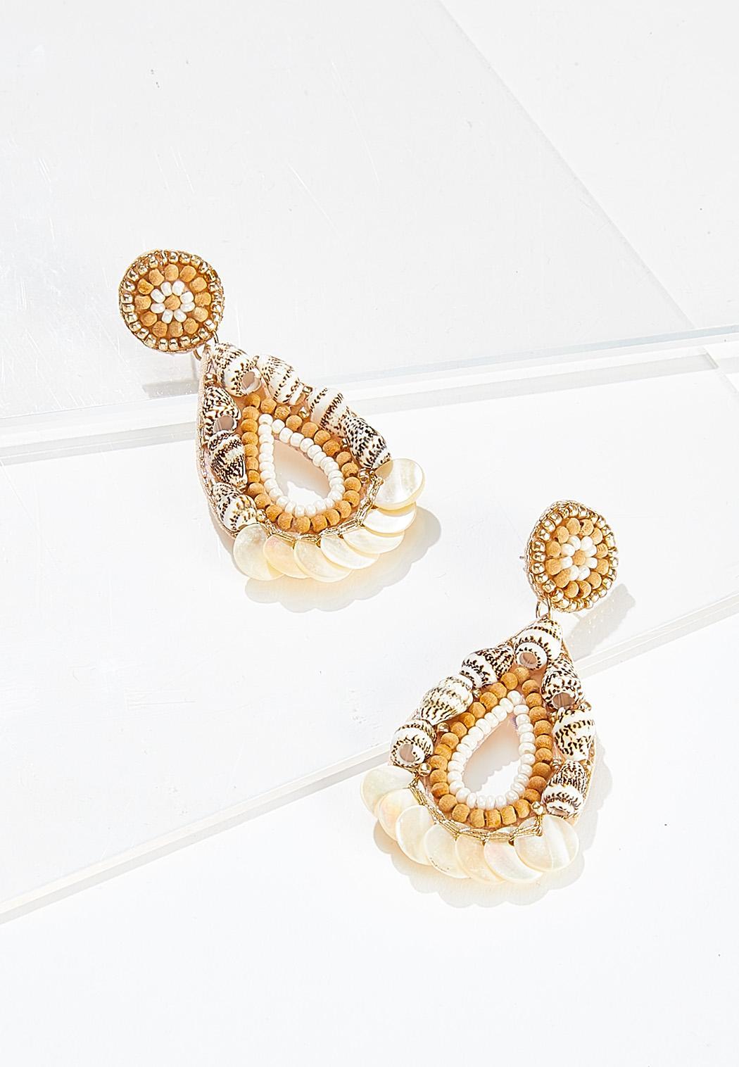 Natural Shell Bead Earrings