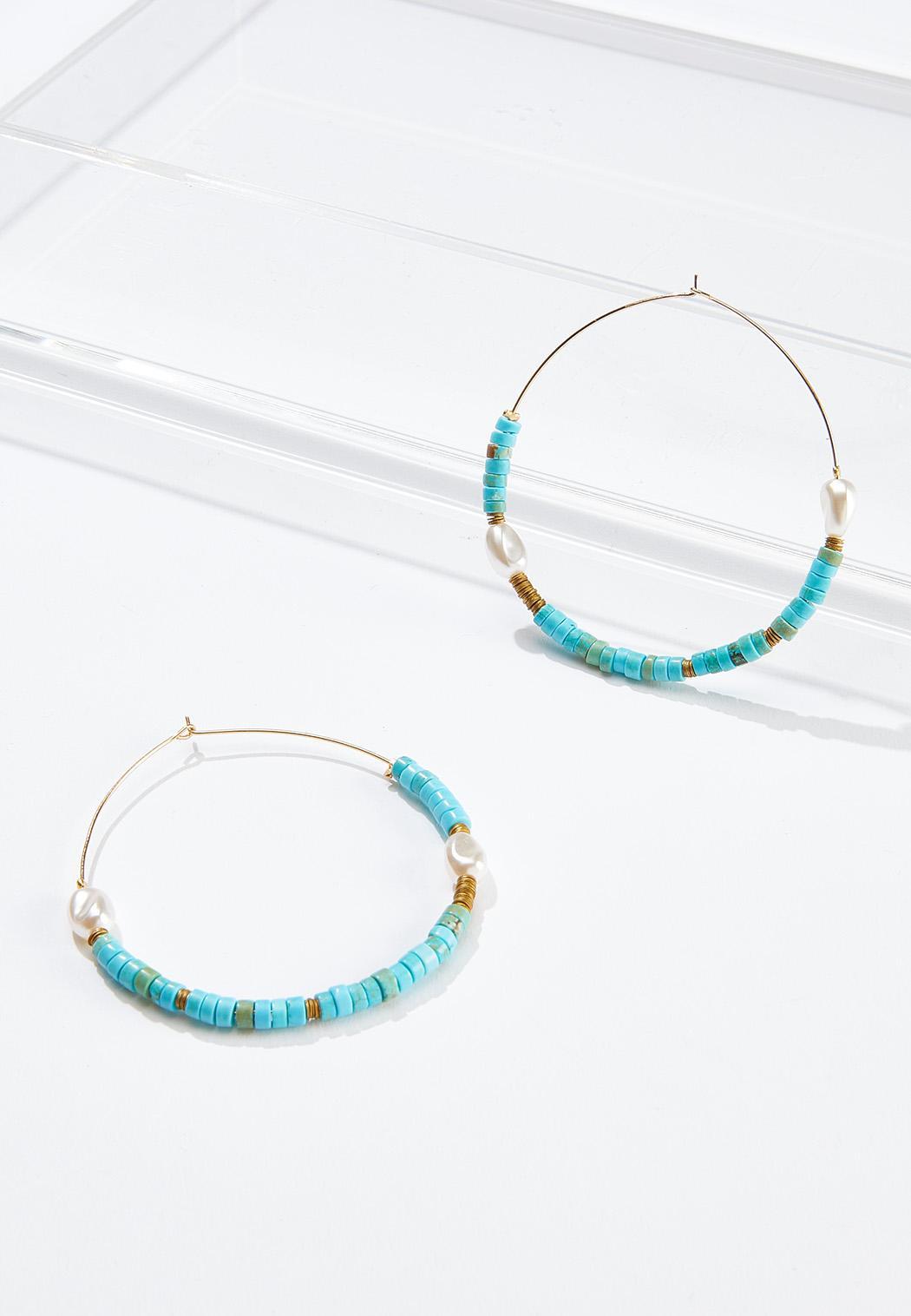Aqua Seed Bead Hoop Earrings