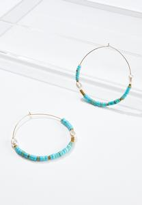 Aqua Seed Bead Hoop Earrings