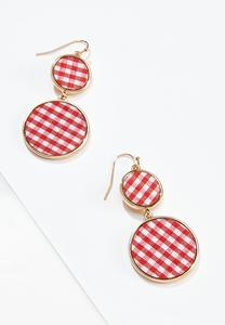 Tiered Gingham Circle Earrings
