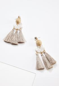 Raffia Resin Tassel Earrings