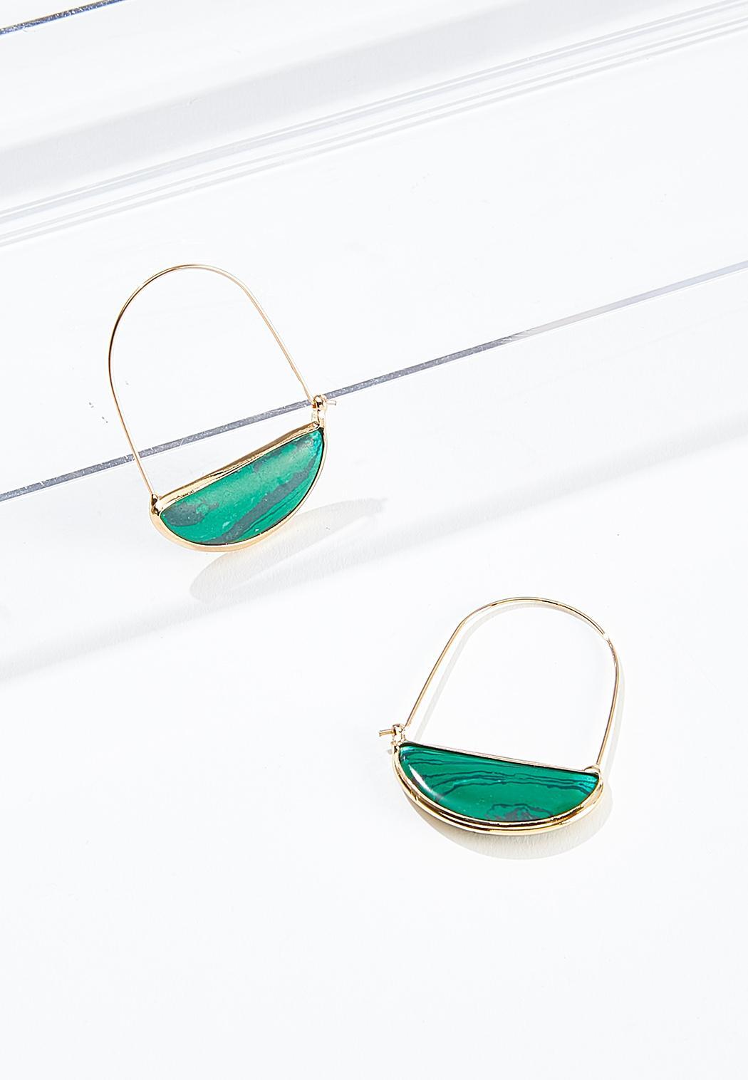 Green Marble Wire Earrings