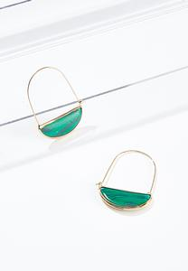 Green Marble Wire Earrings