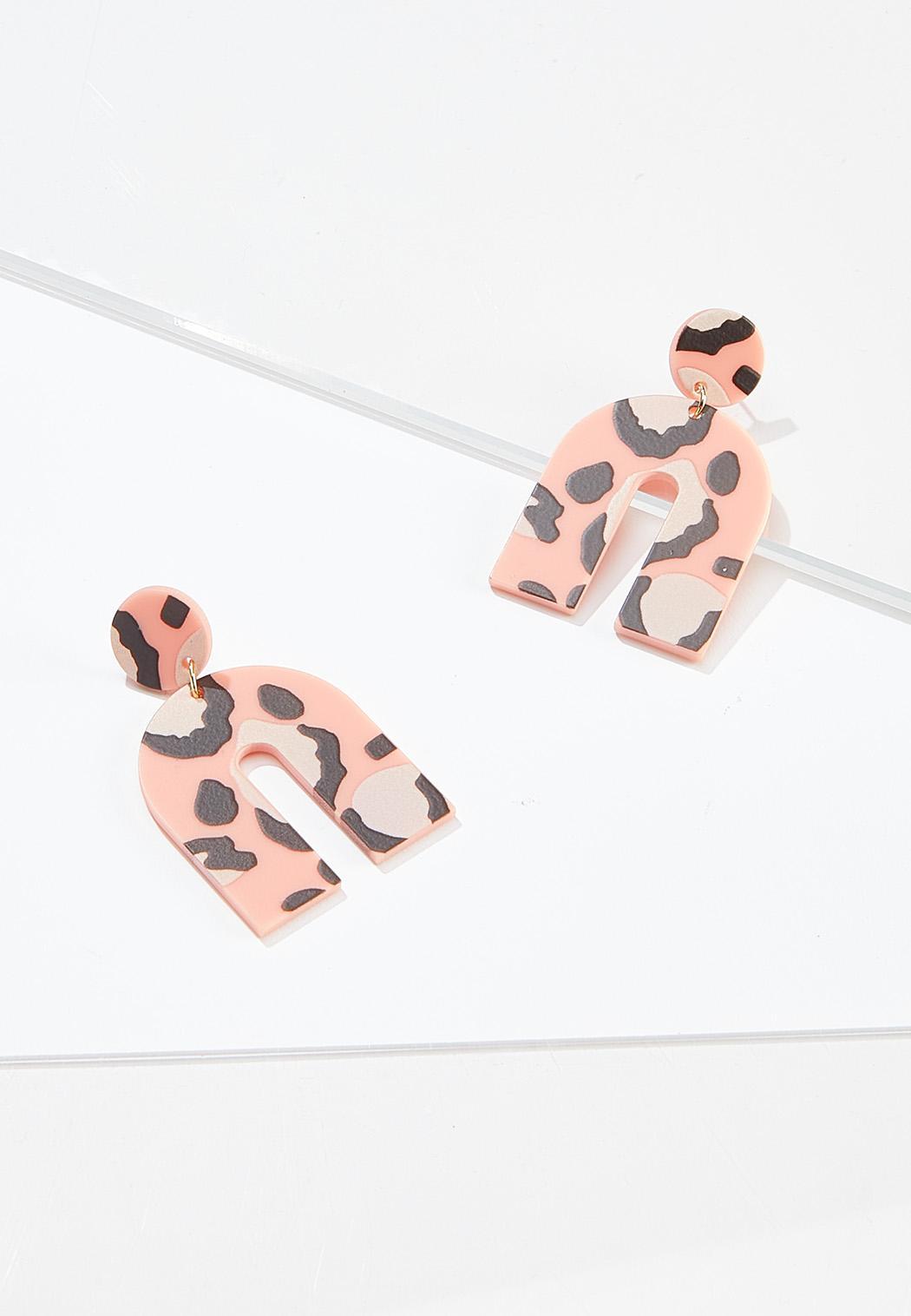 Pink Leopard Earrings