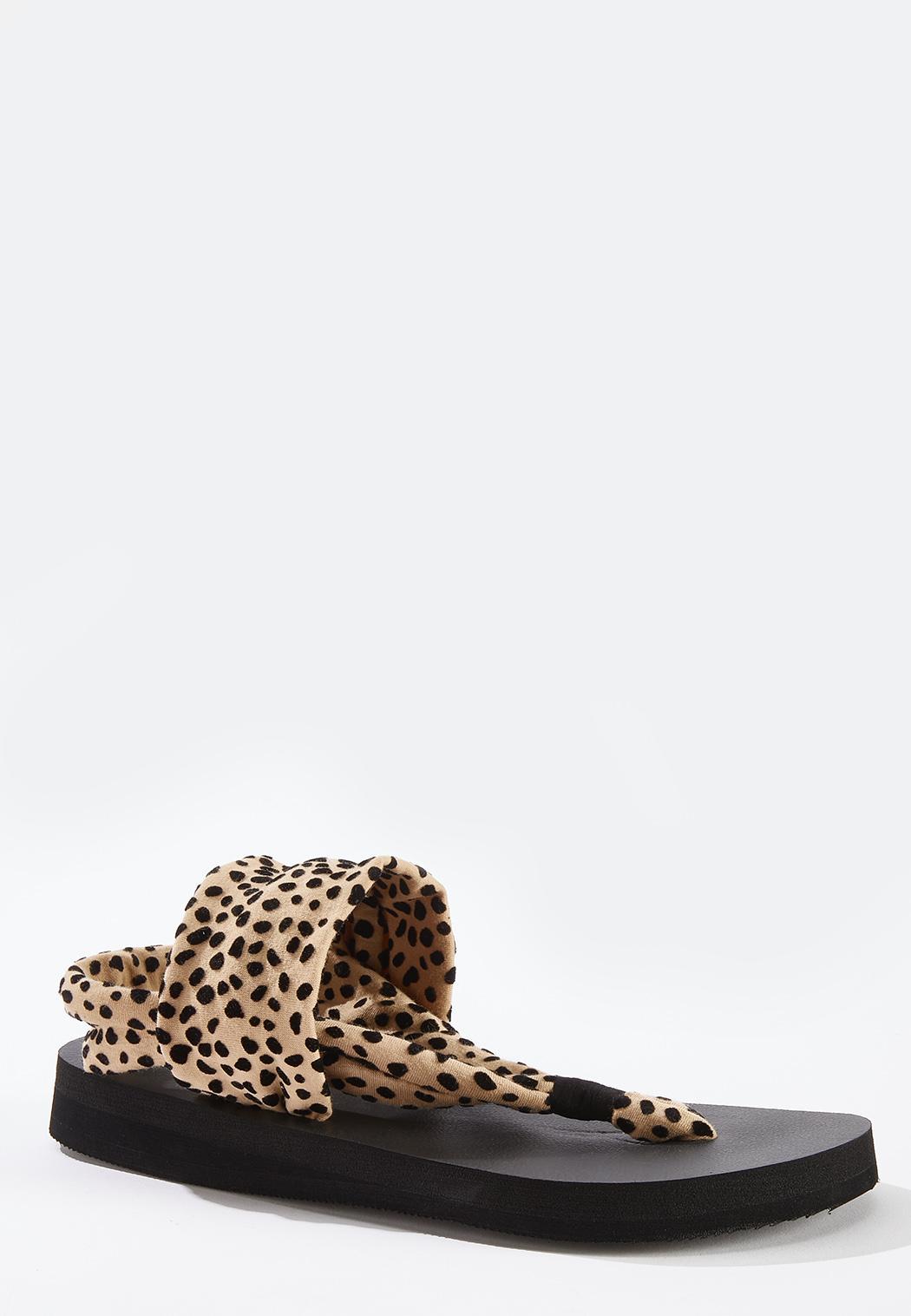 Leopard Fabric Band Flip Flops