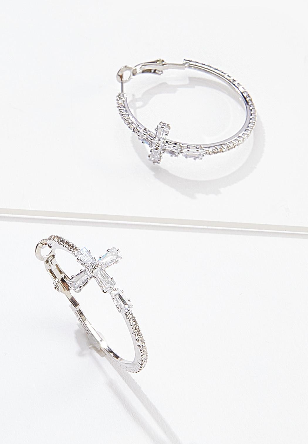 Rhinestone Cross Hoop Earrings