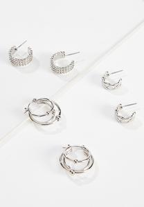 Silver Hoop Earring Set