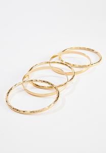 Textured Bangle Bracelet Set