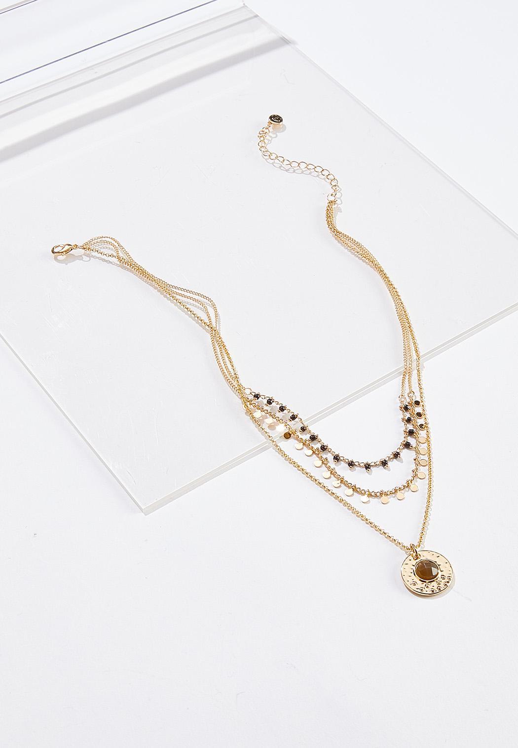 Medallion Pendant Layered Necklace