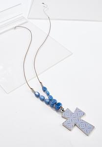 Blue Stone Cross Cord Necklace