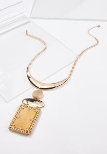 Raffia Stone Pendant Necklace