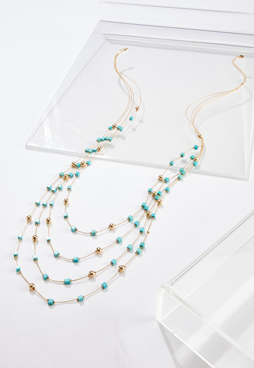 Layered Square Bead Necklace