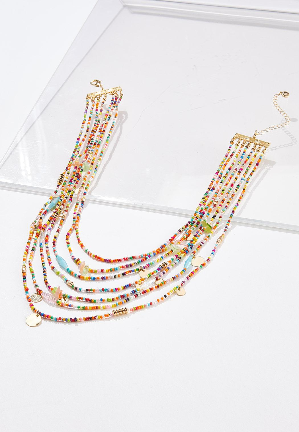 Rainbow Seed Bead Layered Necklace