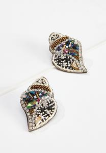 Beaded Conch Shell Earrings