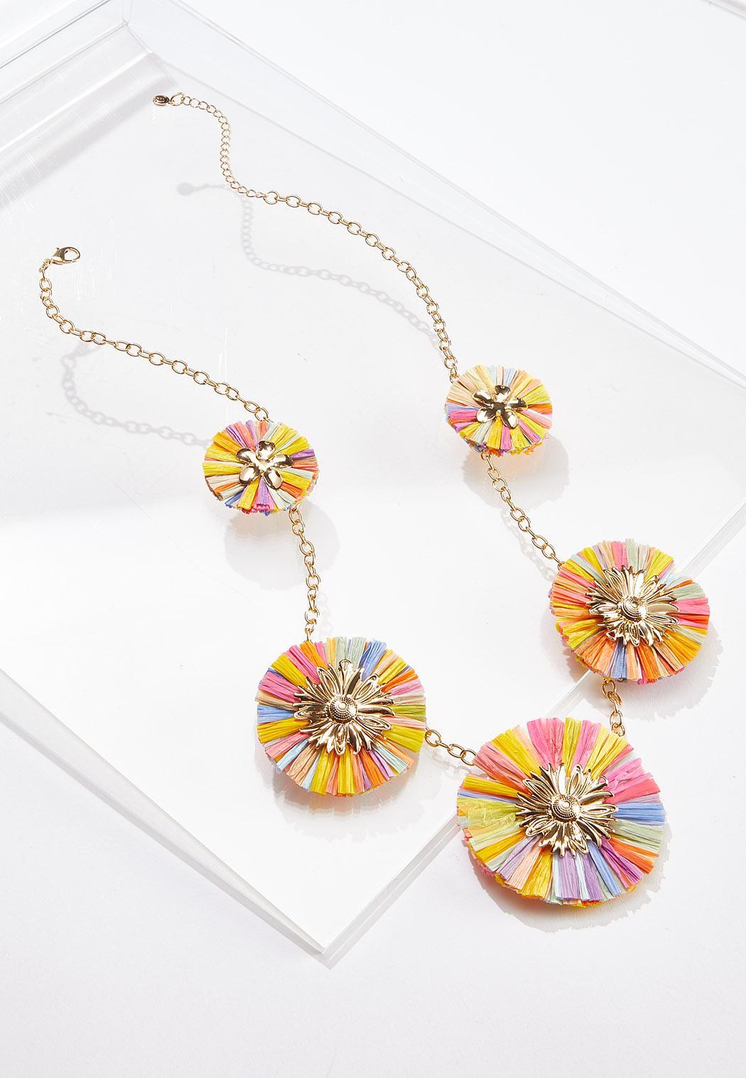 Rainbow Raffia Fan Necklace