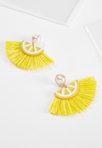 Lemon Raffia Fringe Earrings