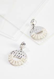 Hammered Metal Pearl Clip-On Earrings