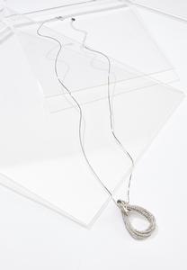 Rhinestone Tear Pendant Necklace