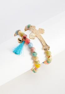 Gold Cross Stretch Bracelet Set