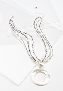 Brushed Metal Pendant Necklace