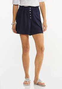 Button Front Gauze Shorts