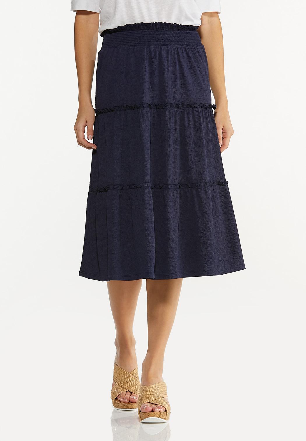 Plus Size Textured Midi Skirt