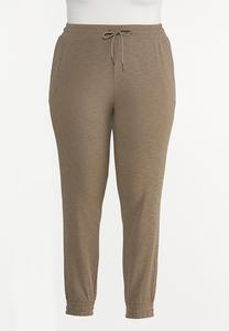 Plus Size Solid Drawstring Joggers