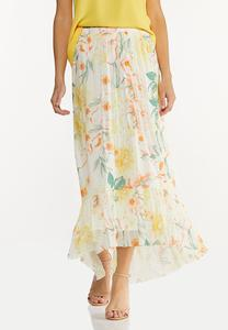 Plus Size Floral Mesh Maxi Skirt
